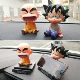Phone Holder Car Accessory Australia - Son Goku Monk Car Dashboard Decoration Toys Phone Holder Mobile Clip Shake Head Styling Dolls Ornaments Interior Accessories