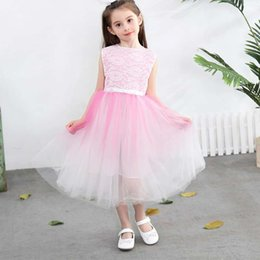 $enCountryForm.capitalKeyWord Australia - 2019 Summer Big and Middle Girls Kids TuTu Dress Sleevess Yarn Skirt Princess Boat Neck Dress