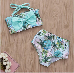 $enCountryForm.capitalKeyWord NZ - Girl Sleeveless Coconut and Ocean Wave Print Swimwear Set Baby Summer Swimsuit Kids Swimming Clothes Two Pieces ZHT 190