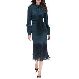 $enCountryForm.capitalKeyWord Australia - woman two piece outfit set 2 piece suit tassel strap bow tie collar long sleeve womens luxury shirts + tassel skirt midi skirt