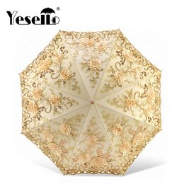 umbrellas for adults NZ - Yesello Lace Flower Folding Umbrellas For Women Folding Uv Protection Rainy Umbrella Embroider Pink Flower Print Pocket Umbrella Y19062103