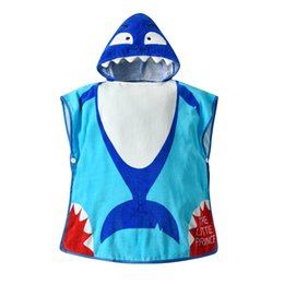 Blue Cotton Cloak UK - 19 years new children's bathrobe baby blue shark cotton hooded hooded cloak cloak baby bath towel