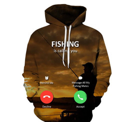 mens fishing clothes NZ - Mens 3D Fish Print Sweatshirts Fashion Designer Autumn Thick Hoodies Loose Sleeve Couple Clothing Crew Neck Casual Apparel
