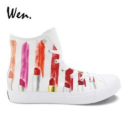 245fb2383625 Wen Design Custom Hand Painted Canvas Fashion Shoes Colorful Lipsticks High  Top Shoes Sneakers White Graffiti Men Women  483088