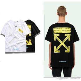 T-shirt classique de la marque de mode owf jaune avertissement de base flèche hip hop couple lâche T-shirt décontracté haut de gamme à manches courtes bicolore en Solde