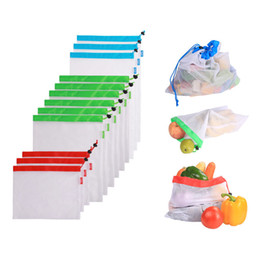 $enCountryForm.capitalKeyWord Australia - 12pcs Reusable Mesh Produce Bags Washable Eco Friendly Bags Shopping for Grocery Shopping Storage Fruit Vegetable Toys