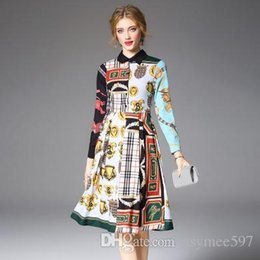 $enCountryForm.capitalKeyWord Australia - Fashion New Spring and Autumn Lady's Contrast Colours Midi Dresses,Nice Printing Dress,Long Sleeve,Polo Neck