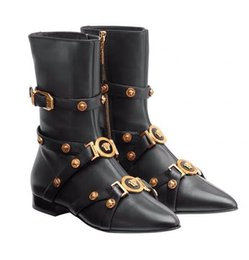 Chain boot straps online shopping - Brand Medusa Fashion Boots Versaes Fashion Luxury High Quality Genuine Leather Leisure Women Ankle flat Boots