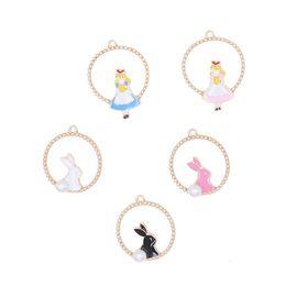 Rabbit Alice Alloy Pendant Australia - 120pcs set Anime fairy tale ring Alice Rabbit Shape Earrings Necklace Headwear Pendant free shipping wholesale