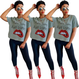 2fe604292e4 YT3102 high-end fashion explosion models Europe and America sexy women  sequins lips letter split T-shirt women s clothing