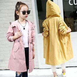 $enCountryForm.capitalKeyWord Australia - Children Spring Autumn Windbreaker for Girls Korean Kids Pink Windproof Long Waist Warm Jacket Teenager Hooded Trench Coat