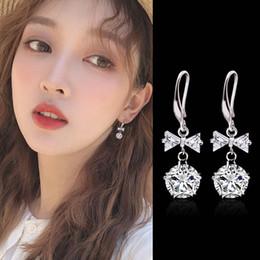 $enCountryForm.capitalKeyWord Australia - Fashion Sweet Red Pink White Diamond Bow Drop Earrings Bling Crystal Rhinestone Long Earring for Women's Stud Earrings Party Jewelry