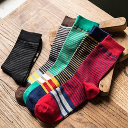 Sock Packs Australia - Men Colorful Crew Socks Striped Casual Cotton Over Ankle Socks Male Solid Color Black White Calcetines Hombre 1 Pair Pack