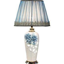 Led Lamps Blue And White Porcel Table Lamp E27 Ac110v-240v Eu Plug Ceramic Table Lamp Bedroom Bedside Lamp Indoor Living Room Bedroom Lamp Lights & Lighting