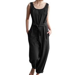 cute casual jumpsuits UK - wholesale Summer Women Jumpsuits With Belt Solid Linen Sleeveless Casual Cute Pockets Playsuits 19JAN24