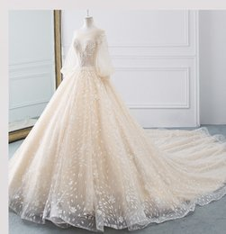 Lace Country Style Wedding Dresses Australia - 2019 New Elegant Sheer Wedding Dresses A-line Hollow Back Long Sleeve Court Train Lace Bridal Gowns Country Bohemian Styles