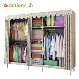 metal wardrobes Canada - Actionclub Large Cloth Wardrobe Clothing Hanging Storage Cabinet Fabric Closet 25 MM Steel Pipe Metal Reinforcement Cabinet