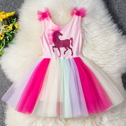 $enCountryForm.capitalKeyWord Australia - Unicorn girls dresses rainbow tutu girl dress kids designer clothes girls princess dress Summer children designer clothes girls A6471