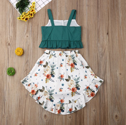 $enCountryForm.capitalKeyWord NZ - Toddler Baby Girl Kid Outfit Set Tops T-shirt Tank+Floral Skirt Beach Dress 1-5Y