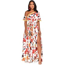 Chinese  Nationality Style Women's Printing Dresses,Sexy Lean Neck Shoulder Hollow Out Split Summer Dress,Beach Vacation Long Skirts manufacturers