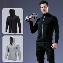 mixed color hoodie Australia - New men's fitness running training long sleeves zipper casual hoodie quick-drying jacket