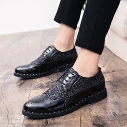 Men's Shoes Men Rivet Dress Italian Shoes Outdoor Slip On Men Mesh Leather Moccasin Glitter Formal Male Shoes Pointed Toe Shoes For Men P4