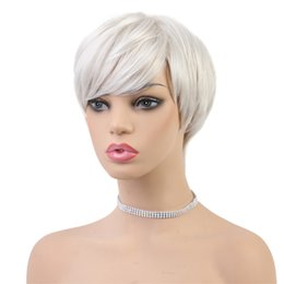 real cosplay UK - Natural Glossy and Smooth Real Human Hair Wig For White Women,White Hair Wigs for Cosplay Makeup