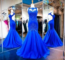 Wholesale e train online – design Royal Blue Elegant Applique Lace Mermaid Evening Dresses Vestidod e Festa Sexy Keyhole Back Floor Long Formal Prom Gowns Vestidos De Festa