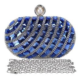 $enCountryForm.capitalKeyWord Canada - Women'S Luxurious Crystal Rhinestone Evening Clutch Purse Party Handbag (Blue)