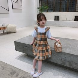 Cute Products Australia - Children's wear girl Suit baby Young child Short sleeve Summer clothing 2019 new products lovely Wholesale prices Strap plaid skirt at