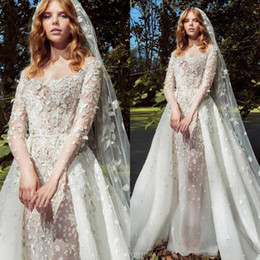 Zuhair Murad Summer Wedding Dress Australia - Zuhair Murad Vintage Wedding Dresses With Detachable Train 2019 Long Sleeve Lace Applique Sexy Bridal Gowns robe de mariée