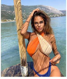color bikini NZ - Women Sexy Bikini 2020 New Cross-Halter Color Panelled Beach Swimwear Monokini One Piece Swimsuit Swim Bathing Suit Beachwear Summer Ladies