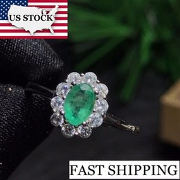 Ring Flowers Australia - Us Stock Green Emerald Ring, Flower Rings, 925 Sterling Silver, 4*6mm Gemstone May Birthstone Jewelry Gift For Women Fj202 10% Y19051603