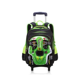 New Backpacks Australia - NEW boys students trolley school bag cartoon car Travel luggage 3D car 2 wheels trolley schoolbag backpack for boys grade 1-5