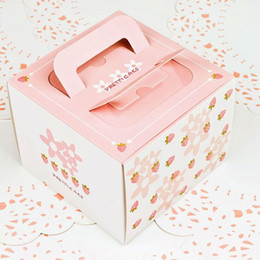 candy box sweet day 2019 - New style cake box 5pcs 13.5x13.5x10.2cm five color sweet pink strawberry gift candy bag Children's Day   Birthday