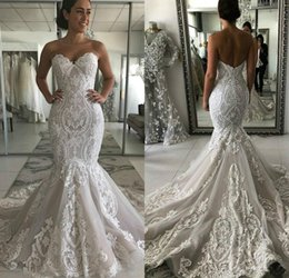 plus size mermaid shirt Australia - Lace Mermaid Wedding Dresses Sweetheart Appliqued Sweep Train Modest Boho Wedding Dress Custom Made Plus Size Bridal Gowns Robe De Mariee