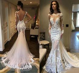 $enCountryForm.capitalKeyWord Australia - Sexy Spaghetti Strpas Mermaid Wedding Dresses Backless Beaded Crystals Lace Applique Sweep Train Boho Beach Wedding Bridal Gown Custom Made