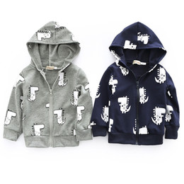 Gifts For Infant Girls Australia - Infant Toddler Baby Boys Girls Cartoon Dinosaur Hooded Zipper Tops Clothes Coat a great idea for a baby show gifts clothes