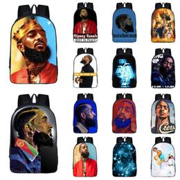 School kidS cartoon characterS online shopping - Nipsey hussle rapper student backpack styles Multi function High capacity Backpack Kids Originality shoulder bag school bag JY618
