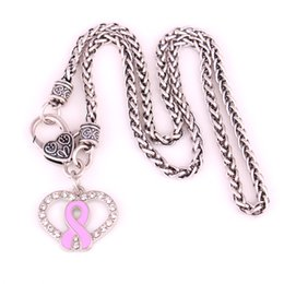 Cancer Necklaces UK - HX3 Health alert Breast Cancer Pink Enamel Ribbon Bow Crystal Heart Necklace Pendant with popcorn leather snake  wheat  link necklace