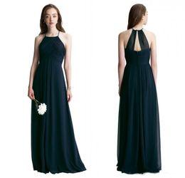 e6edfdfd34 Bill Levkoff 2018 Navy Blue Chiffon Long Bridesmaid Dresses Custom Made  Pleats Floor Length Sleeveless Halter Wedding Guest Dresses