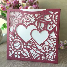 $enCountryForm.capitalKeyWord NZ - 45PCS  lot Hollow Laser Cut Pearl Paper Wedding Invitation Cards Two Heart Love Using To Engagement Marriage Ceremony Invitation Party