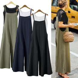 $enCountryForm.capitalKeyWord NZ - S-5xl 2018 Summer Women Strappy Solid Comfy Wide Leg Jumpsuits Women's Casual Loose Dungarees Bib Overalls Cotton Linen Rompers Y19071701