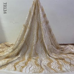 Wholesale high quality tulle resale online - African Tulle Laces Fabrics High quality Hand Made Beads Sequines French Net Lace Fabric For Wedding Dress
