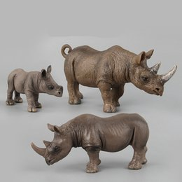 $enCountryForm.capitalKeyWord NZ - 3pcs set Various shapes Rhino family Forest Wild Animal model action figures Solid Collection Children toys Gift For Kids figma