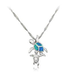 Browning Pendants Australia - turtle pendant HAIMIS Free Chains Cute Blue Pink White Brown Green Fire Opal Turtle Pendant 1 1 8'' OP5