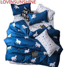 Wholesale Solstice Cartoon Blue Polar Bear Bedding Sets Lovely Pattern Boy girl Bed Linings Duvet Cover Bed Sheet Set