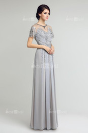 beaded illusion Australia - LX225 Gray Chiffon Luxury Illusion Prom Dresses A Line Beaded Floor Length Formal Evening Occasion Party Gown Fast Shipping