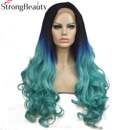 Blue Synthetic Lace Front Wigs Australia - Long Wavy Wigs Synthetic 3 Tones Ombre Blue to Green Lace Front Wig