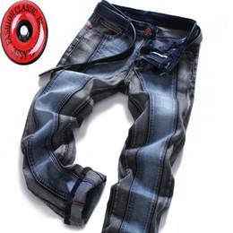 Block Fashion Men Australia - 2018 Winter Color Block Men's Jeans Pants Slim Straight Fashion Brands Rock Elastic Designer Jeans For Men Y190509